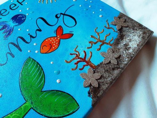 Quadre pintat a mà, acrílic-mixte sobre tela