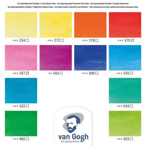 Acuarelas Van Gogh, 12 colores vibrantes